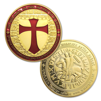 gold plated coins,5 pcs/lot, Knights Templar Cross Masonic Gold Coin,packing in a hard plastic capsule+opp bag