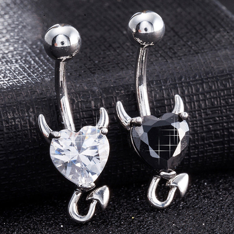 Belly-Button-Ring Piercing Jewelry Glitter Navel 1pcs Heart Nail-Ll--17 Love-Heart-Decor