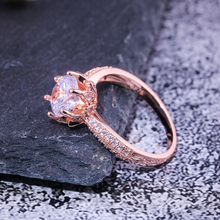 Huitan Romantic Rose Gold Color Engagement Ring For Women Cute Lily Of The Vally Flower Design Solitare Infinite Wedding