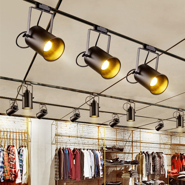 Vintage Ceiling Light LED Black Iron Ceiling Lamp Industrial clothing Track Lamp retro rail Spot light luminaire Kitchen Fixture