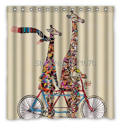 Bigger And Small Giraffe Ridding Bike Home Living Waterproof Bathroom Nice  Best Decor Shower Curtain 152x183cm