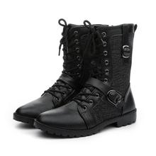 Quality Male Fashion Retro Punk Combat boots Winter England-style Casual shoes Men's mid-calf boot white Black size 39-44 стоимость