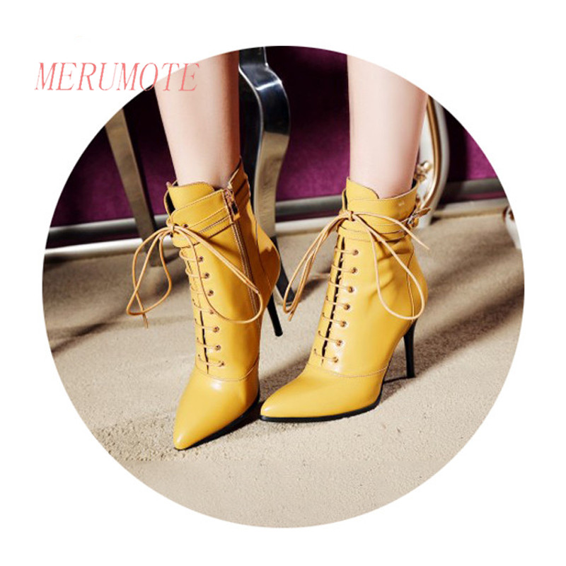 ФОТО MERUMOTE Women's Middle Thin Heel Pointed Toe Full Grain Leather Straps Buckle Shoes Boots