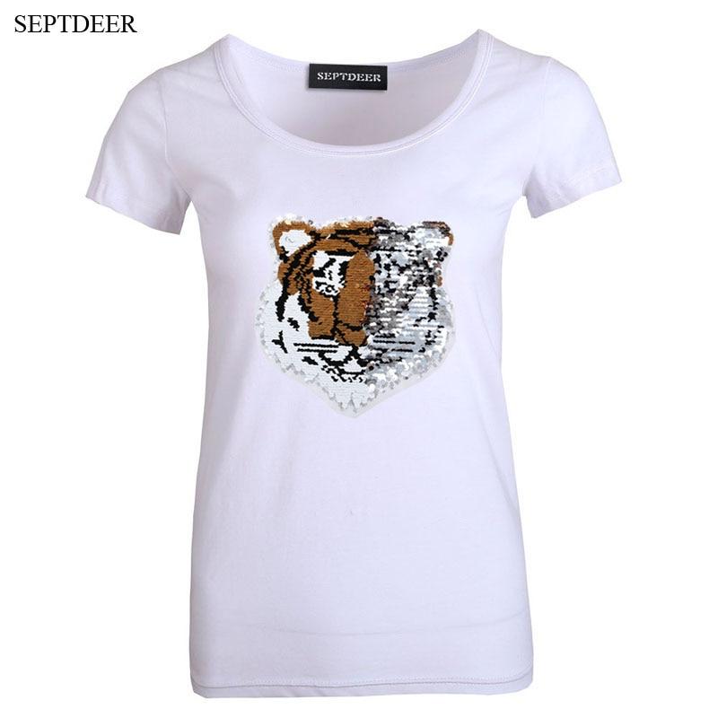 buy septdeer europe high srteet reversible sequins t shirt women plus size. Black Bedroom Furniture Sets. Home Design Ideas