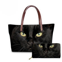 NOISYDESIGNS Black Cat Pattern Women Handbags Top-handle Bags Long Purse Female Shoulder Bag Ladies Tote sac a main Messenger