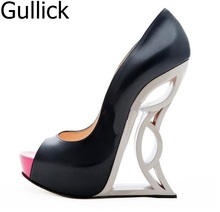 купить Women Shoes New Spring Dress Office Peep Toe Platform Shoes Mixed Color Designed Super High Heels Women Pumps Free Shipping по цене 6019.03 рублей