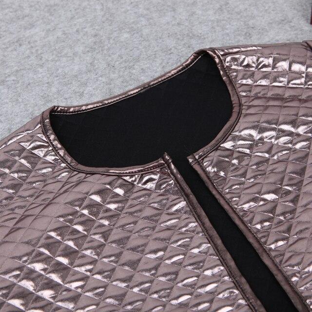 KLV/модные женские туфли Осень ромб Блёстки тонкий Курточка бомбер Винтаж на молнии Байкер стильный мягкий с круглым вырезом пальто Блуза Топ 5