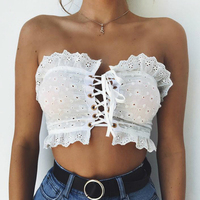 DERUILADY 2018 Summer Women Crop Tops Sexy Strapless Bandage Tops Ruffles Lace Edge Hollow Out Female