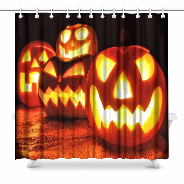 Aplysia Group Of Spooky Halloween Jack O Lanterns Lit At Night Art Decor Shower Curtain Set 72 X Inches