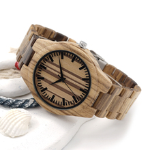 Men's Wooden Wristwatches With Striped Dial