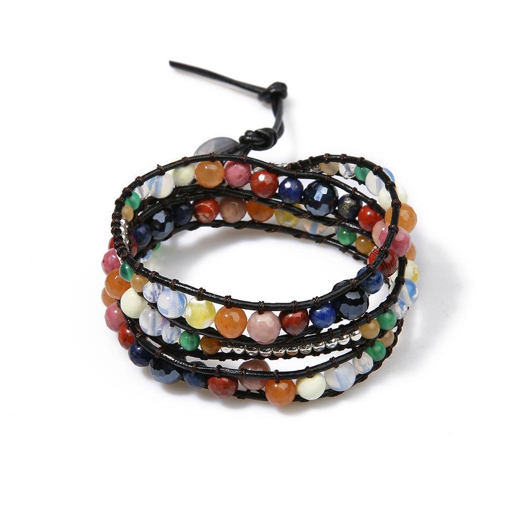 La MaxZa Crystal Stone Vintage Ethnic Beaded Strand Bracelet For Women Adjustable Designer Fashion Jewelry Womens Accessories