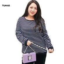 TUHAO Large Size Striped Long-sleeved Shirts Korean Bottom Shirt Blouses Autumn Winter Clothes Plus 7XL 6XL 5XL Blouse YBFS