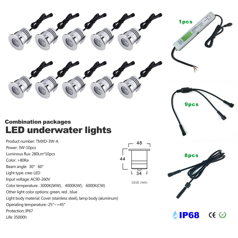 CREE LED Swimming Pool Light 3W IP68 Underwater LED Light for fountain DC12V 24V with ca ...