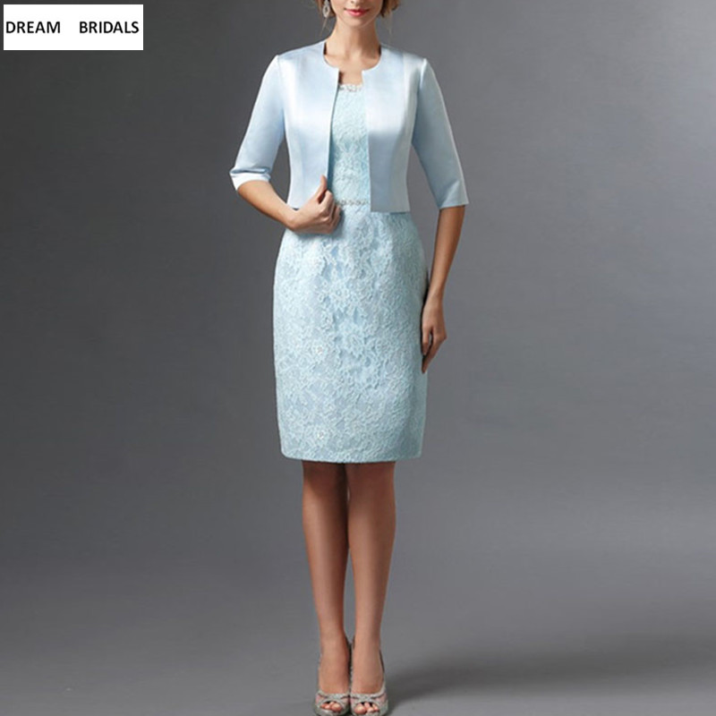 New Arrival Sheath Knee-Length Lace Mother of the Bride Dresses With Jacket For Weddings Beading Sash Vestido De Madrinha 2019