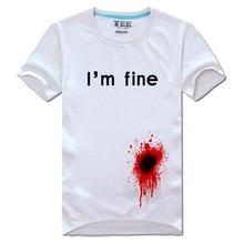 "New Summer Style 3D Print""I'm fine""T-shirt Blooded Evil Funny Male Short-Sleeve Tee Shirt Fashion Men/Women Cotton T Shirt Tops"