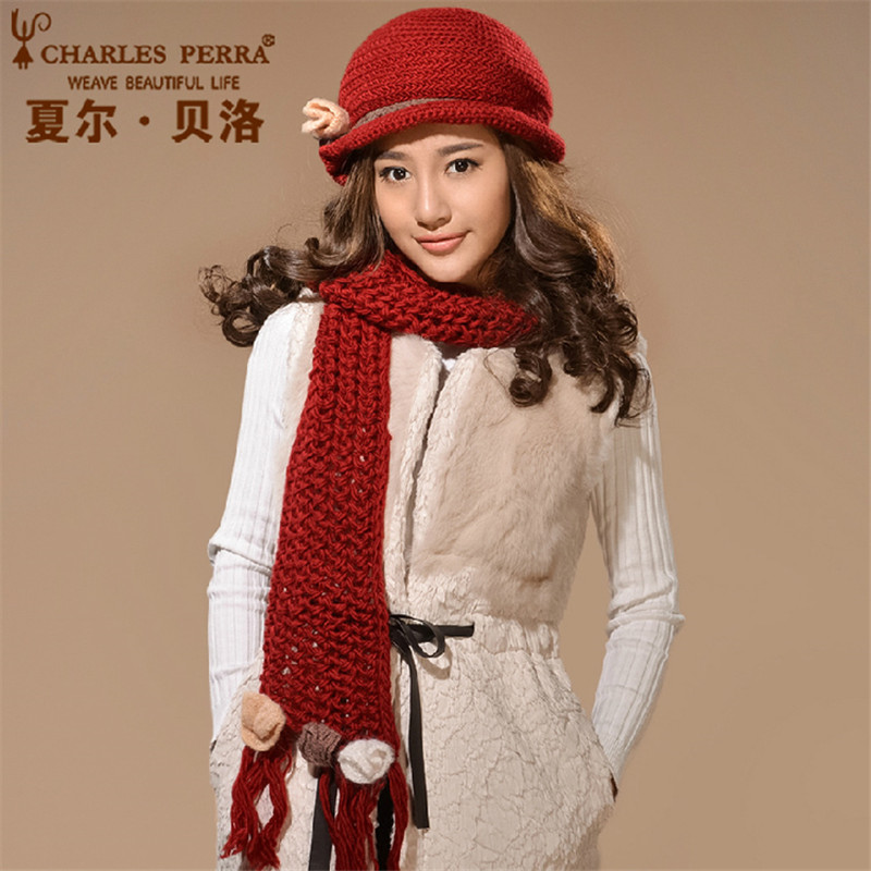 Charles Perra Women Hat Scarf Sets Winter Thicken Wool Knitted Hats Casual Fashion Pure Handmade Woven Woolen Cap Beanies 6580