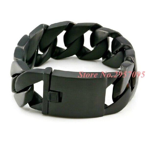 Punk hommes bijoux 24mm de large en acier inoxydable noir lien chaîne Bracelets Cool hommes Bracelet charmes accessoires