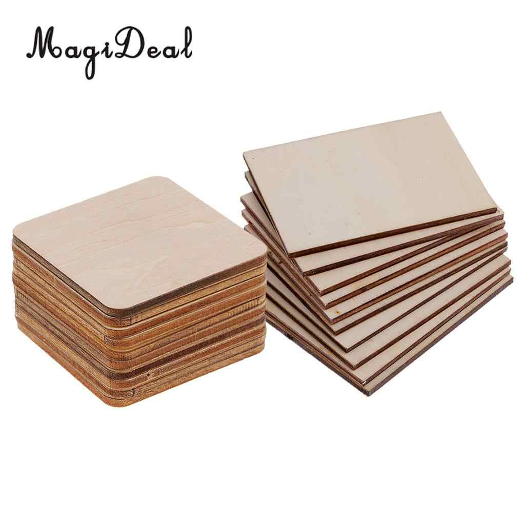 20pcs Wooden Square Rectangle Shapes Coasters Plain Wood Craft Blanks Plaque Sign Diy Pyrography Art Craft Woodworking Materials