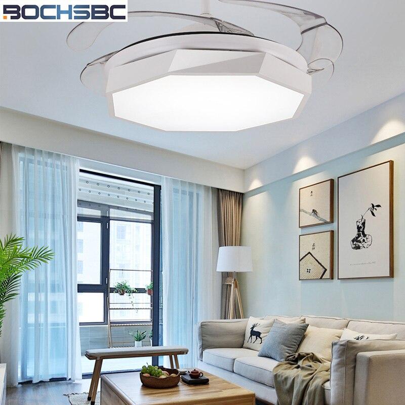 BOCHSBC Невидимый пластиковый потолочный вентилятор для столовой спальни кабинет простой современный вентилятор подвесной светильник со све