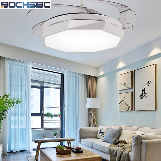 Us 346 94 17 Off Bochsbc Invisible Plastic Ceiling Fan Lights For Dininig Room Bedroom Study Room Simple Modern Fan Hanging Light With Led Bulbs In