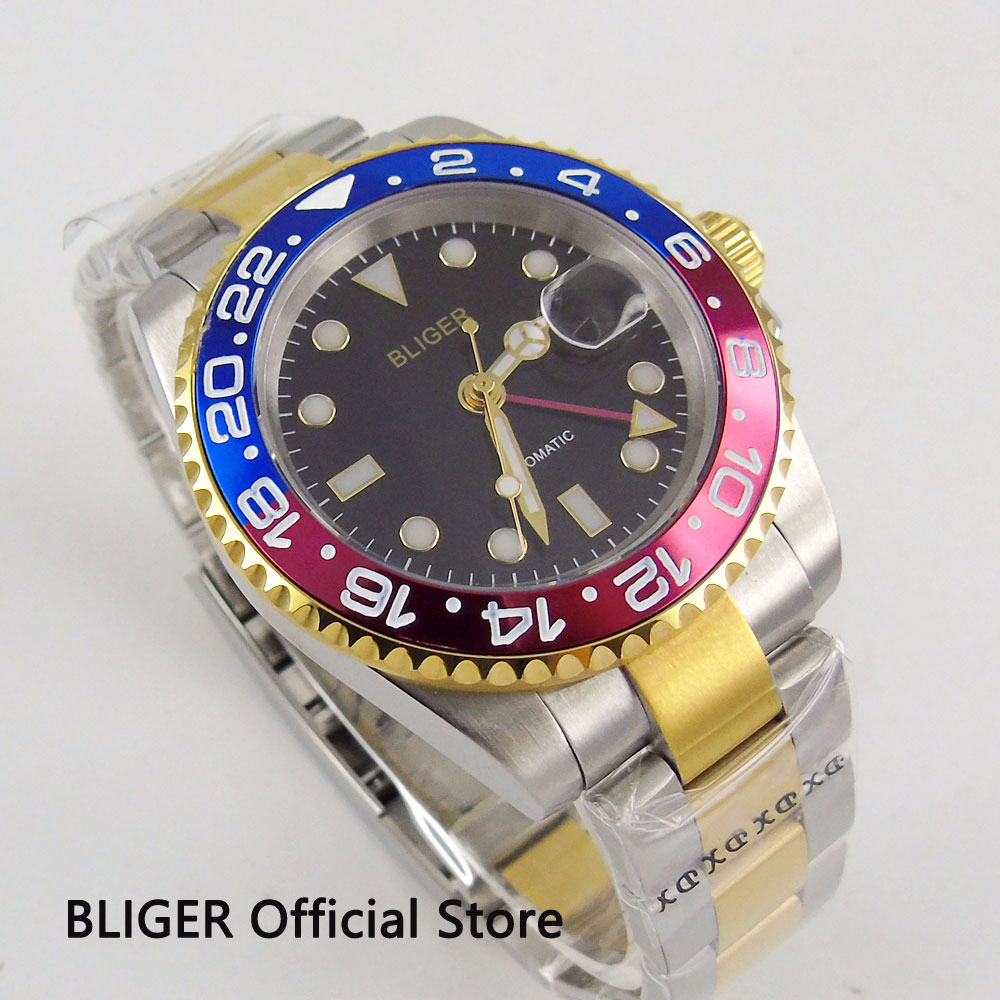 Luxury Gift BLIGER 40MM Big Dial Mens Watch Blue Red Rotating Bezel GMT Function Sapphire Luminous Automatic Movement watchLuxury Gift BLIGER 40MM Big Dial Mens Watch Blue Red Rotating Bezel GMT Function Sapphire Luminous Automatic Movement watch