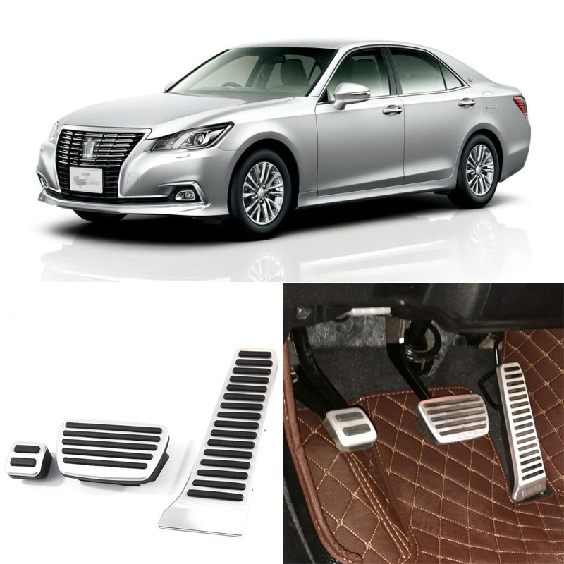 Brand New 3pcs Aluminium Non Slip Foot Rest Fuel Gas Brake Pedal Cover For Toyota Crown AT 2015-2016 brand new 2pcs aluminium non slip foot rest fuel gas brake pedal cover for hyundai sonata 8th at 2011 2015