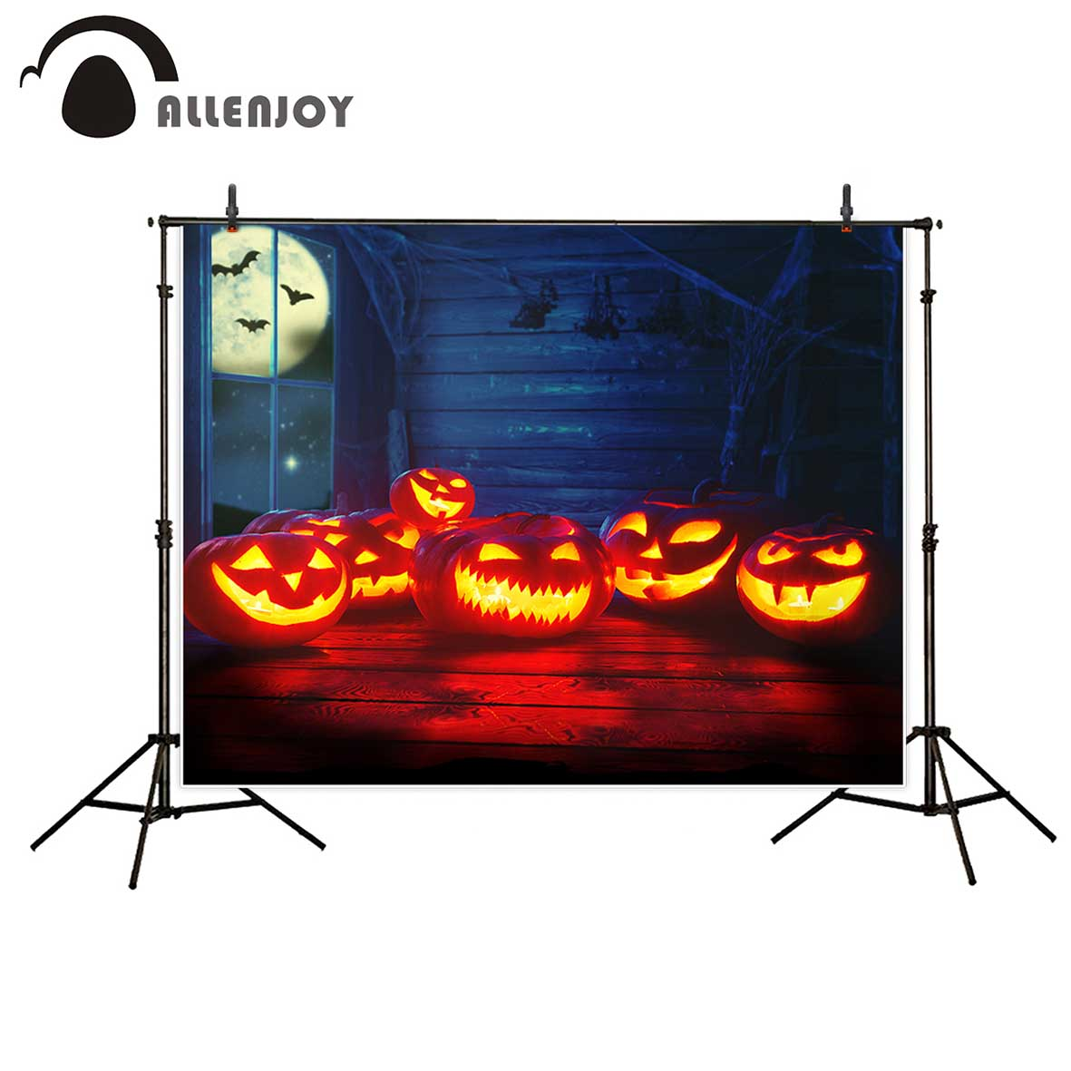 Allenjoy photographic background Moon haunted house horror pumpkin light backdrop photocall professional custom vinyl background