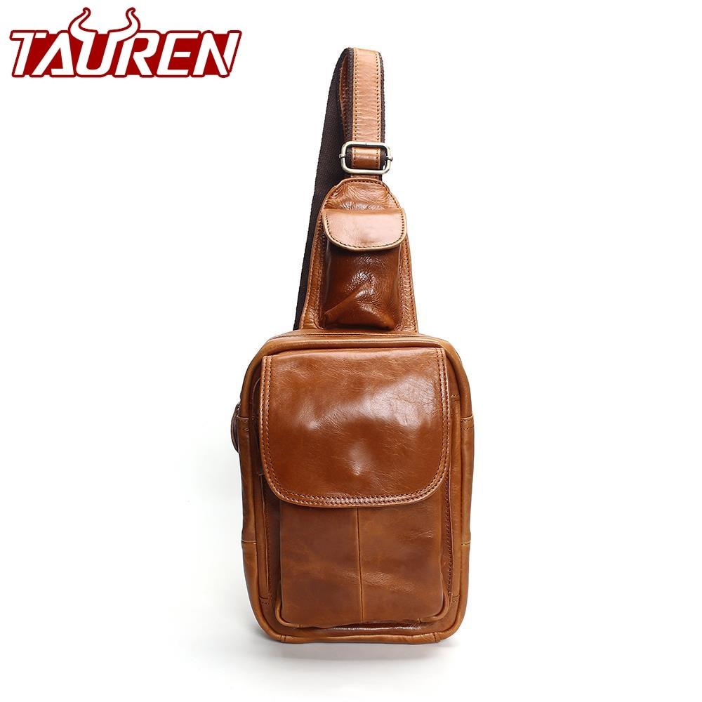 Мужская мода груди сумки ретро 100% натуральная кожа Дорожная сумка через плечо сумка нагрудный ремень нагрудный карман