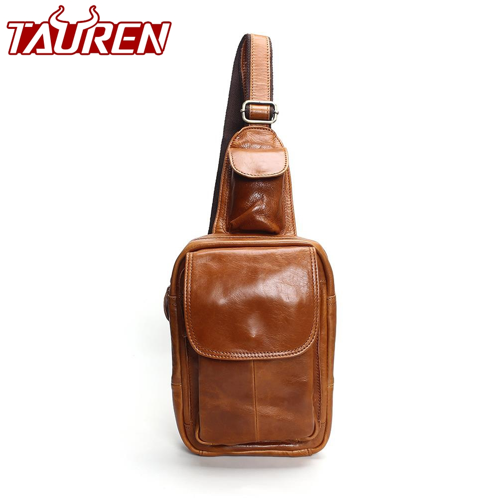 Men's Fashion Chest Bags Retro 100% Genuine Leather Travel Bag Shoulder Messenger Bag Chest Harness Chest Pocket contrast panel chest pocket tee