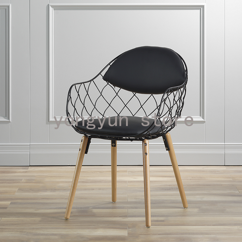 Dining Room Popular Minimalist Modern Fashion Dining Chair Iron Chairs Coffee Wire Chair Chromed Metal Steel Wire Chair Pu Pad Attractive Fashion Furniture Dining Chairs