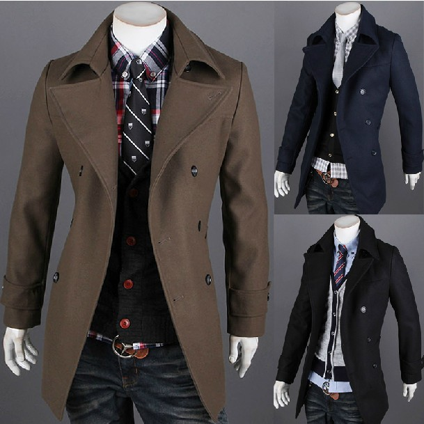 17ce7126f2054 New Men s Stylish Trench Coat Double Breasted Woolen Jacket Overcoat Black   Coffee Navy