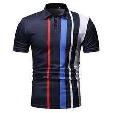 Stripe Men Polo Shirt Short sleeve Business Casual collar for Mens Clothing New Arrival Navy Black