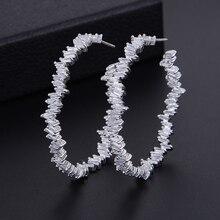 GODKI pendientes fiesta casamiento alta joyería para mujer, de 42mm, con circonita cúbica de lujo, circular geométrico Iregular, moda