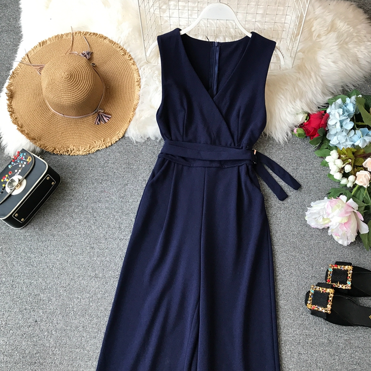 ALPHALMODA 2019 Spring Ladies Sleeveless Solid Jumpsuits V-neck High Waist Sashes Women Casual Wide Leg Rompers 76