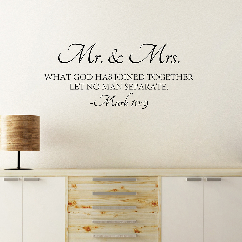 Mr & Mrs Quote Wall Sticker Bible Love Quotes Wall Decal High Quality Cut Vinyl Removable Wall Decors(China)