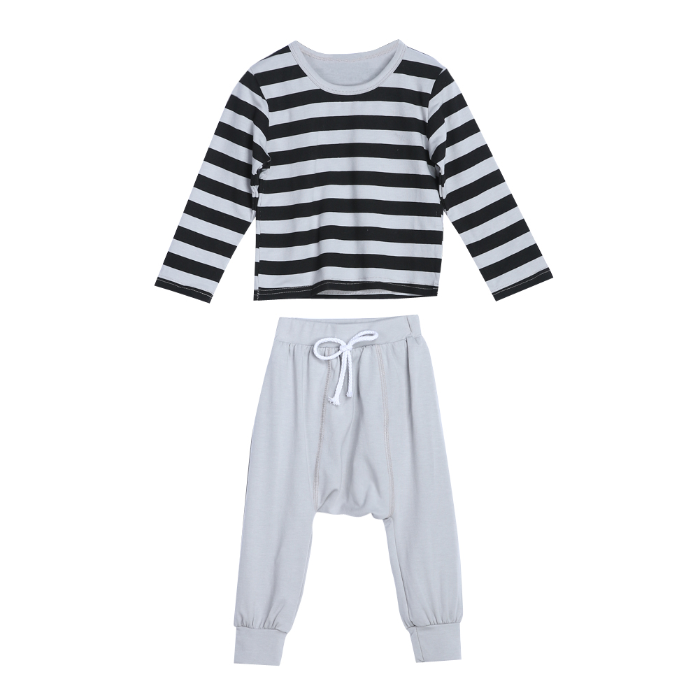 Toddler Kids Clothes Baby Long Sleeve Pullover Striped Top+ Harem Pants Sports Suit Casual Boys Clothing Set AO#P