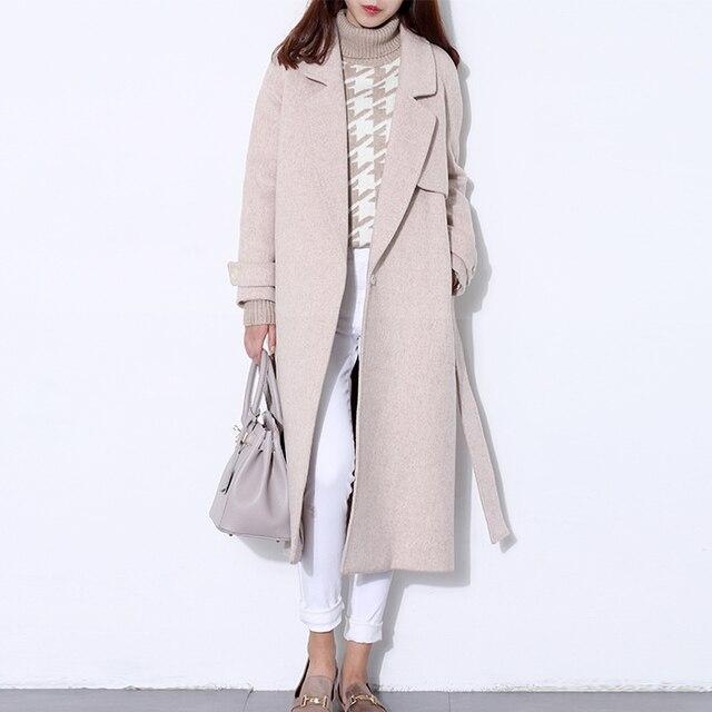 Шерстяное пальто Женская длинное пальто зимнее шерсть пальто взлетно-посадочной полосы модные черные толстые теплые шерстяное пальто одежда высокого качества
