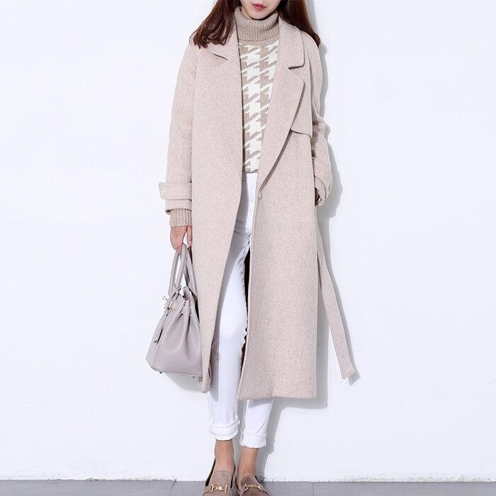 Manteau de laine longue femme manteau d'hiver Laine Mélange manteau de mode de piste noir épais chaud laine manteau tenue haute qualité