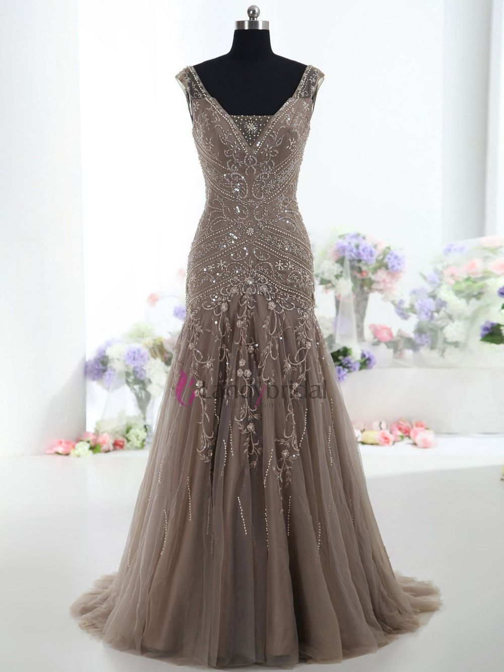 V Neck Chocolate White Champagne Lavender Ivory Handmade Embroidery With Beadings Trumpet Wedding Dress 2017 Bmmc0009 In Dresses From Weddings
