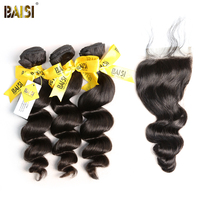 BAISI Hair,100% Unprocessed Human Hair Peruvian Loose Wave Virgin Hair 3 Bundles with Closure, Free Shipping