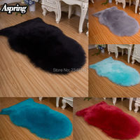 Faux Fur Shaggy Artificial Sheepskin Fluffy Chair Seat Sofa Cover Carpet Mat Area Rug Bedroom Home Decoration Black Wine Blue