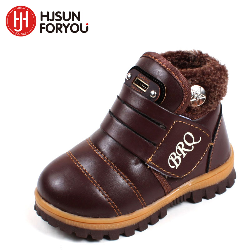 2019 New Child snow warm boots thick non-slip padded snow boots boys girls leather shoes winter boots casual shoes for kids