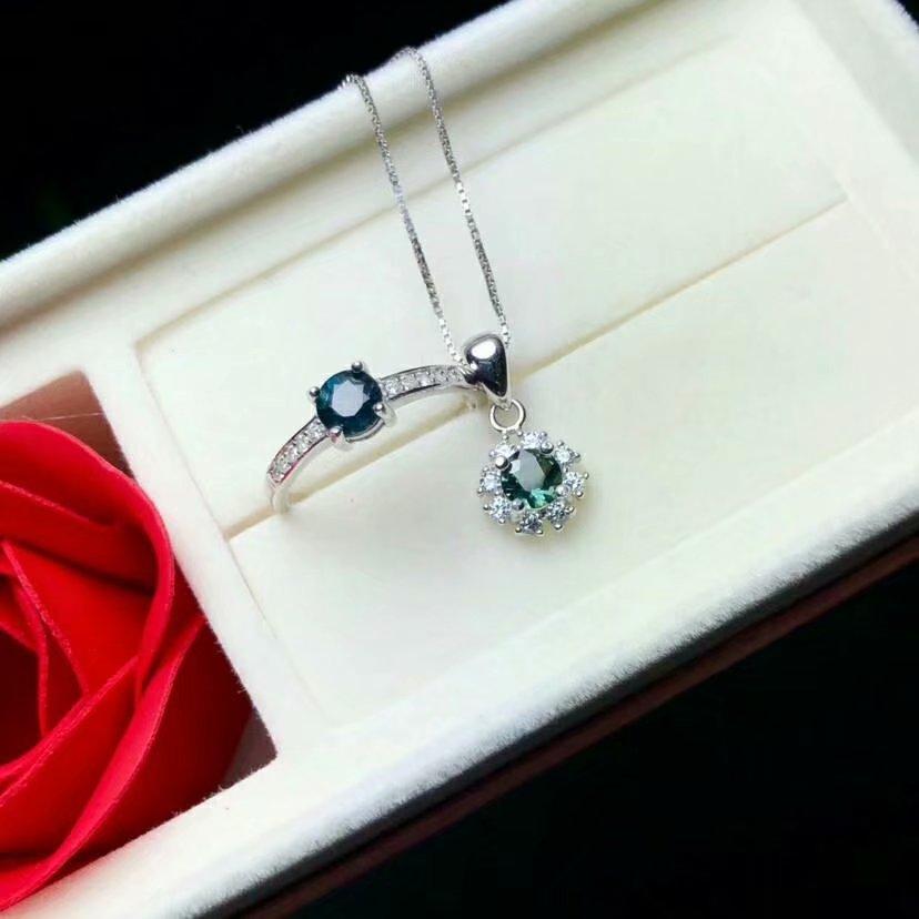 Shilovem 925 sterling silber echt Natürlichen saphir Ringe anhänger edlen Schmuck frauen hochzeit öffnen neue yhtz0404865agl - 5