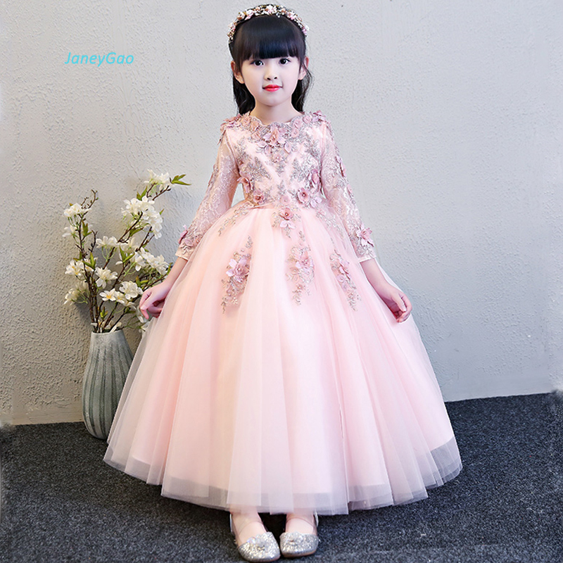 JaneyGao   Flower     Girl     Dresses   For Wedding Party Pink   Dresses   For   Girl   White Formal Gown Red   Girl   Formal   Dresses   With Sleeves 2019