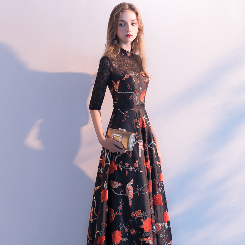 Robe De Soiree New High Embroidery Backless A-Line Evening Dresses Long Elegant Lace Vestido De Festa Banquet Party Prom Dresses
