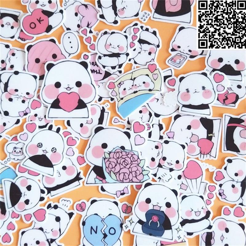 Купить с кэшбэком 40 Pcs Cartoon panda  Sticker for Luggage Skateboard Phone Laptop Moto Bicycle Wall Guitar/Eason Stickers/DIY Scrapbooking