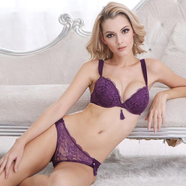 Luxury women Sexy Tassel Push Up Deep V Lace bra and briefs bra  lingerie 260c30ddf