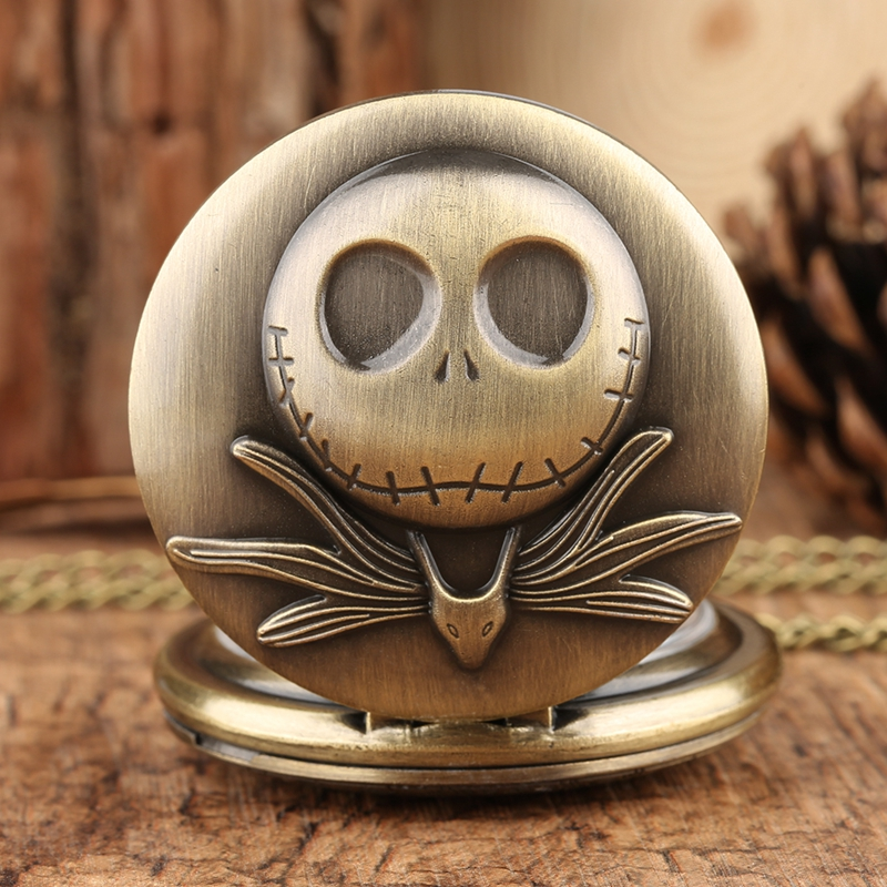 The Nightmare Before Christmas Quartz Pocket Watch Tim Burton Jack Skellington Pendant Necklace Relojes De Bolsillo