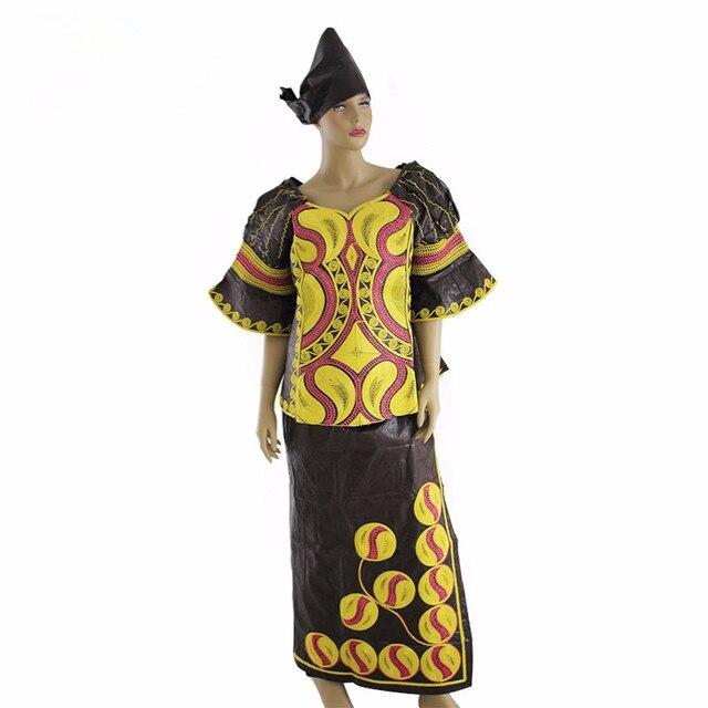 (Бесплатная доставка) 2016 новая мода Африканская Bazin богатые женщины 100% хлопок платье с короткими рукавами M2378