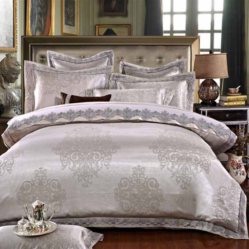 Silver Gray Luxury Satin Jacquard bedding sets Embroidery bed set queen king size lace duvet cover bed sheet set pillowcaseSilver Gray Luxury Satin Jacquard bedding sets Embroidery bed set queen king size lace duvet cover bed sheet set pillowcase
